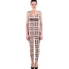 Woven1 White Marble & Rusted Metal (r) One Piece Catsuit by trendistuff