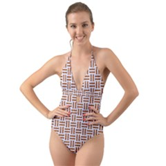 Woven1 White Marble & Rusted Metal (r) Halter Cut Out One Piece Swimsuit
