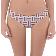 Woven1 White Marble & Rusted Metal (r) Reversible Hipster Bikini Bottoms