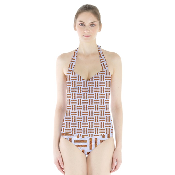 WOVEN1 WHITE MARBLE & RUSTED METAL (R) Halter Swimsuit