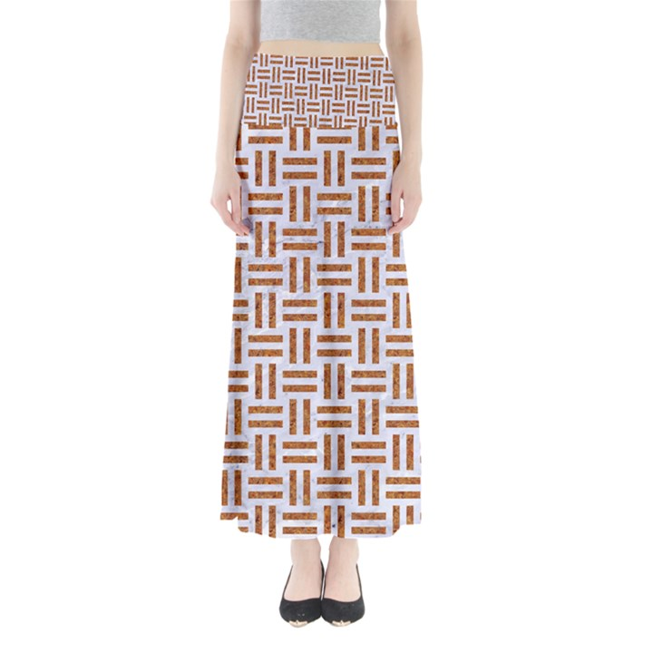 WOVEN1 WHITE MARBLE & RUSTED METAL (R) Full Length Maxi Skirt