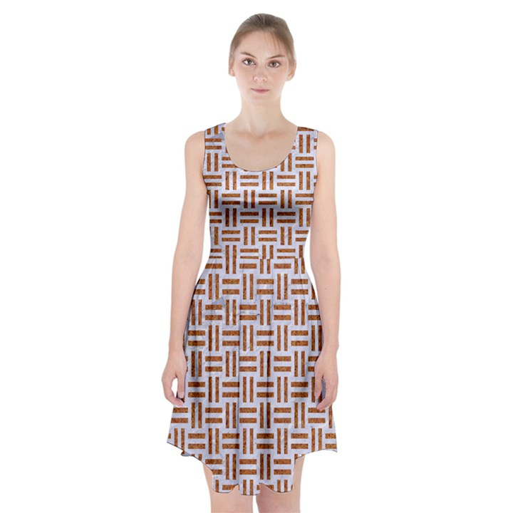 WOVEN1 WHITE MARBLE & RUSTED METAL (R) Racerback Midi Dress