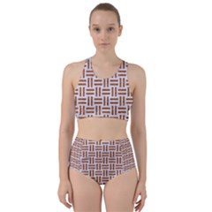 Woven1 White Marble & Rusted Metal (r) Racer Back Bikini Set