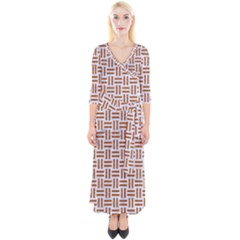 Woven1 White Marble & Rusted Metal (r) Quarter Sleeve Wrap Maxi Dress