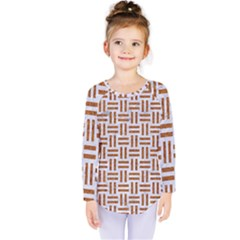 Woven1 White Marble & Rusted Metal (r) Kids  Long Sleeve Tee