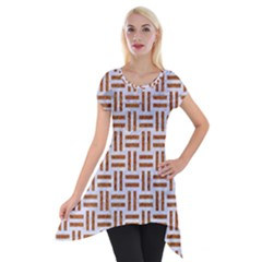 Woven1 White Marble & Rusted Metal (r) Short Sleeve Side Drop Tunic