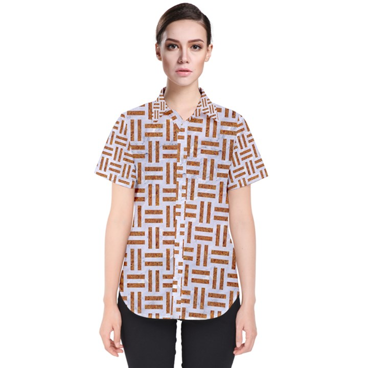 WOVEN1 WHITE MARBLE & RUSTED METAL (R) Women s Short Sleeve Shirt