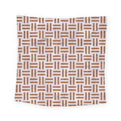 Woven1 White Marble & Rusted Metal (r) Square Tapestry (small)