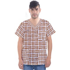 Woven1 White Marble & Rusted Metal (r) Men s V Neck Scrub Top by trendistuff