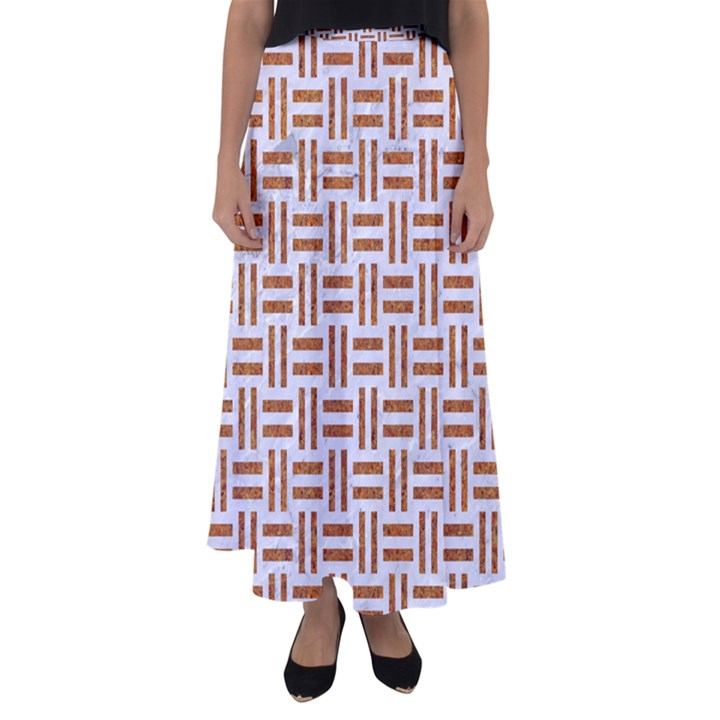 WOVEN1 WHITE MARBLE & RUSTED METAL (R) Flared Maxi Skirt