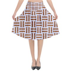 Woven1 White Marble & Rusted Metal (r) Flared Midi Skirt