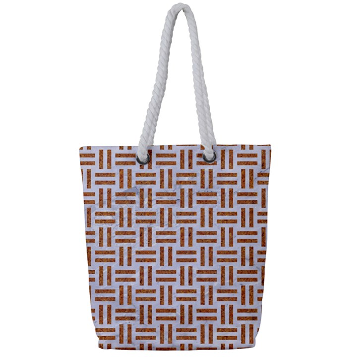 WOVEN1 WHITE MARBLE & RUSTED METAL (R) Full Print Rope Handle Tote (Small)