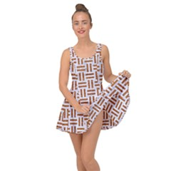 Woven1 White Marble & Rusted Metal (r) Inside Out Dress