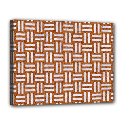 WOVEN1 WHITE MARBLE & RUSTED METAL Canvas 14  x 11