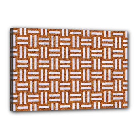Woven1 White Marble & Rusted Metal Canvas 18  X 12