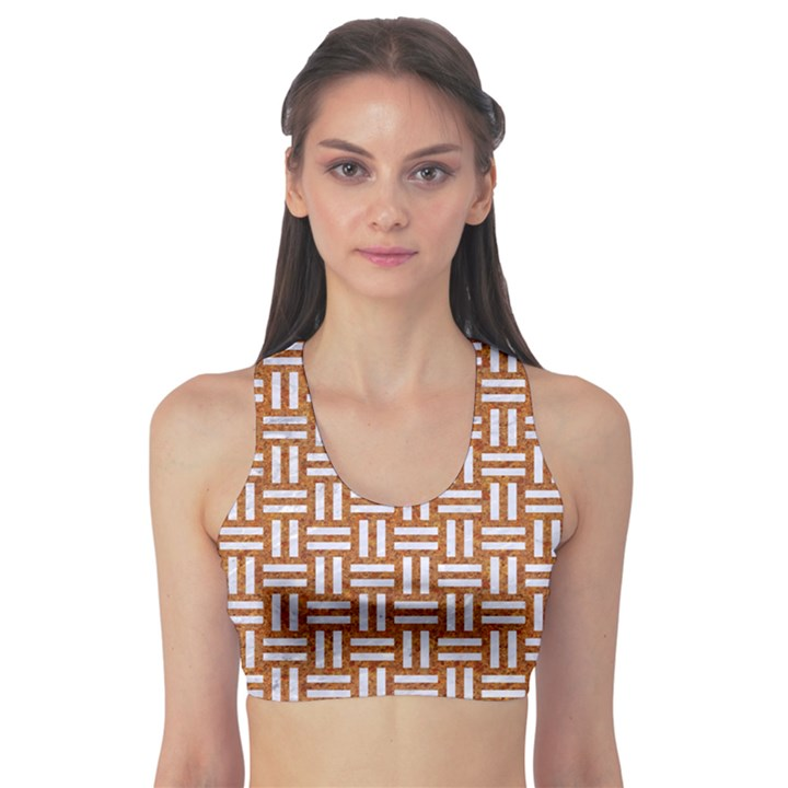 WOVEN1 WHITE MARBLE & RUSTED METAL Sports Bra