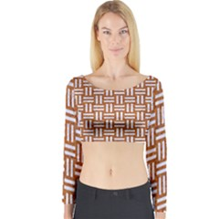 Woven1 White Marble & Rusted Metal Long Sleeve Crop Top