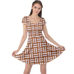 Woven1 White Marble & Rusted Metal Cap Sleeve Dress