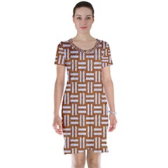 WOVEN1 WHITE MARBLE & RUSTED METAL Short Sleeve Nightdress