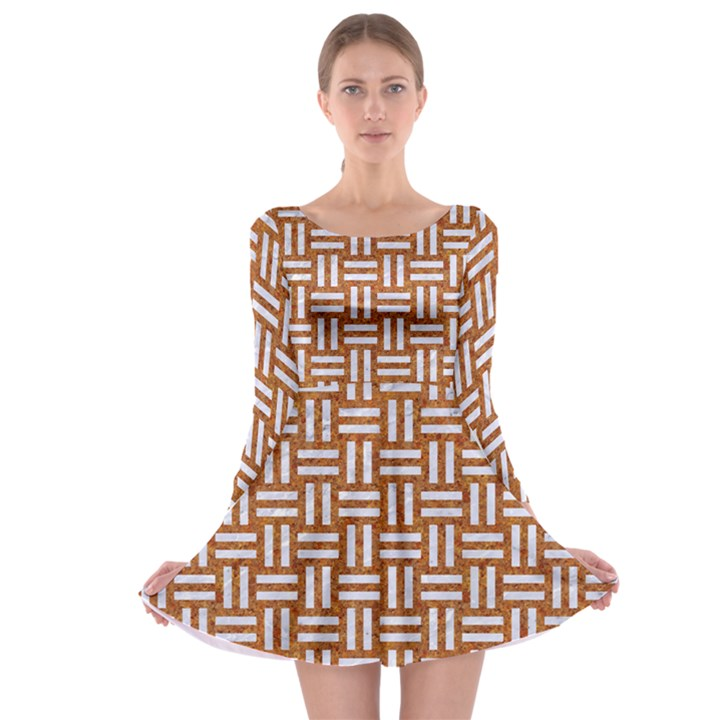 WOVEN1 WHITE MARBLE & RUSTED METAL Long Sleeve Skater Dress