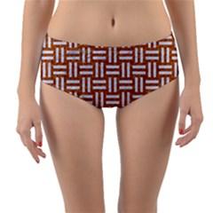 WOVEN1 WHITE MARBLE & RUSTED METAL Reversible Mid-Waist Bikini Bottoms