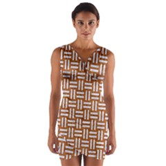 WOVEN1 WHITE MARBLE & RUSTED METAL Wrap Front Bodycon Dress