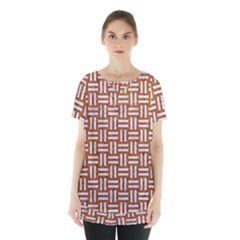 WOVEN1 WHITE MARBLE & RUSTED METAL Skirt Hem Sports Top