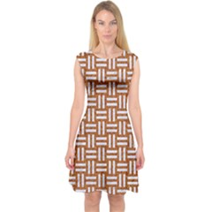 Woven1 White Marble & Rusted Metal Capsleeve Midi Dress
