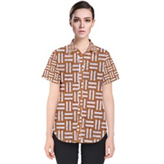 Woven1 White Marble & Rusted Metal Women s Short Sleeve Shirt