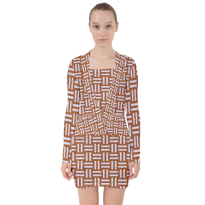 WOVEN1 WHITE MARBLE & RUSTED METAL V-neck Bodycon Long Sleeve Dress