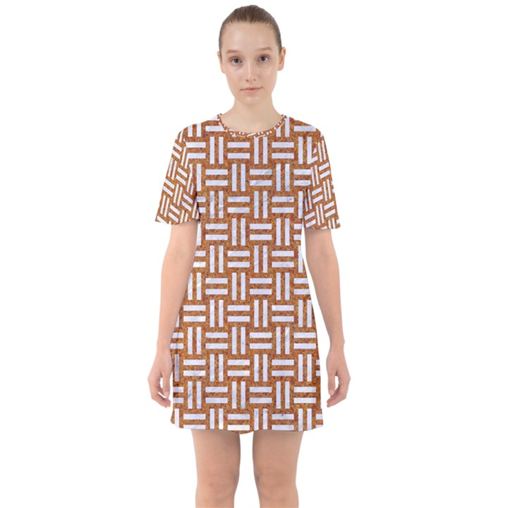 WOVEN1 WHITE MARBLE & RUSTED METAL Sixties Short Sleeve Mini Dress
