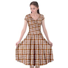 WOVEN1 WHITE MARBLE & RUSTED METAL Cap Sleeve Wrap Front Dress