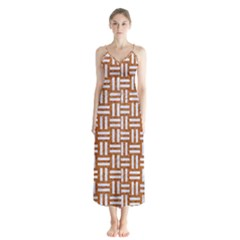WOVEN1 WHITE MARBLE & RUSTED METAL Button Up Chiffon Maxi Dress