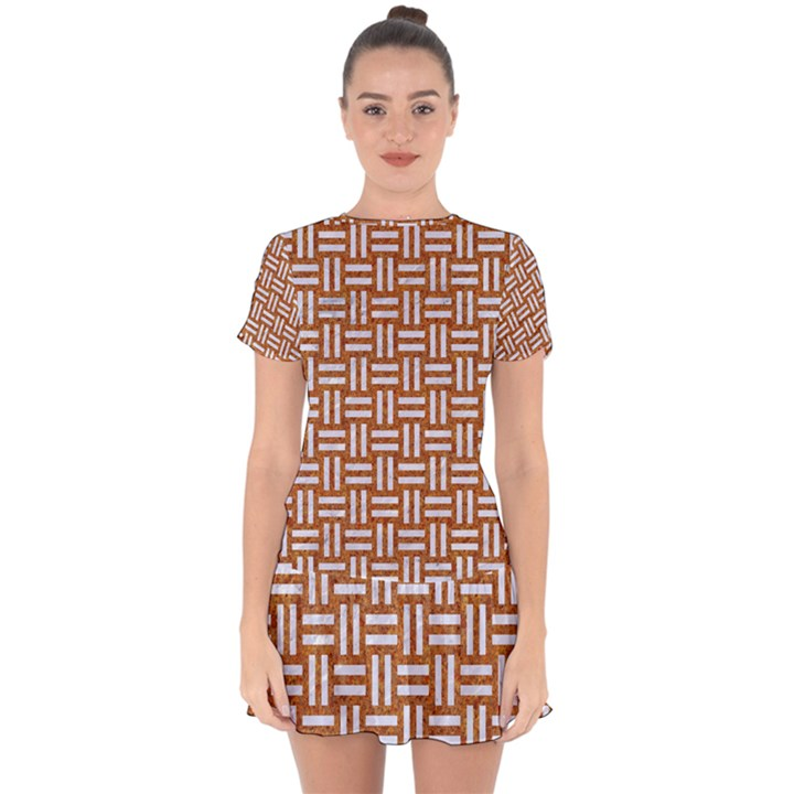 WOVEN1 WHITE MARBLE & RUSTED METAL Drop Hem Mini Chiffon Dress