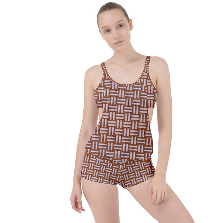 WOVEN1 WHITE MARBLE & RUSTED METAL Boyleg Tankini Set