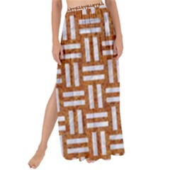 WOVEN1 WHITE MARBLE & RUSTED METAL Maxi Chiffon Tie-Up Sarong