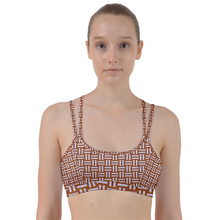 WOVEN1 WHITE MARBLE & RUSTED METAL Line Them Up Sports Bra