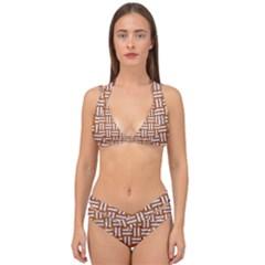 WOVEN1 WHITE MARBLE & RUSTED METAL Double Strap Halter Bikini Set