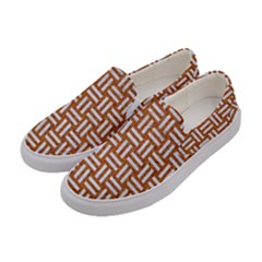 Woven1 White Marble & Rusted Metal Women s Canvas Slip Ons by trendistuff