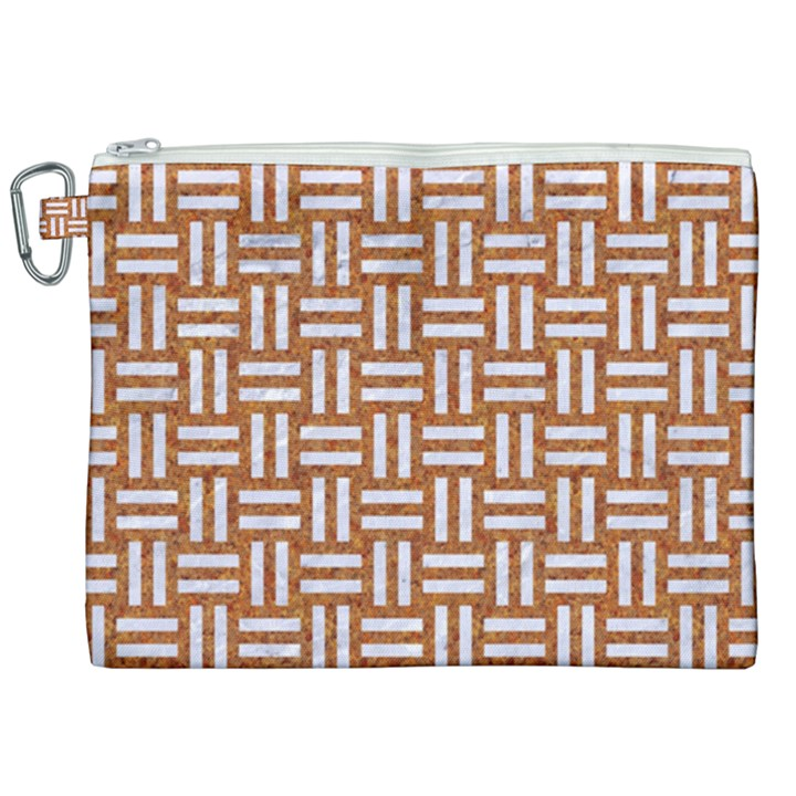 WOVEN1 WHITE MARBLE & RUSTED METAL Canvas Cosmetic Bag (XXL)