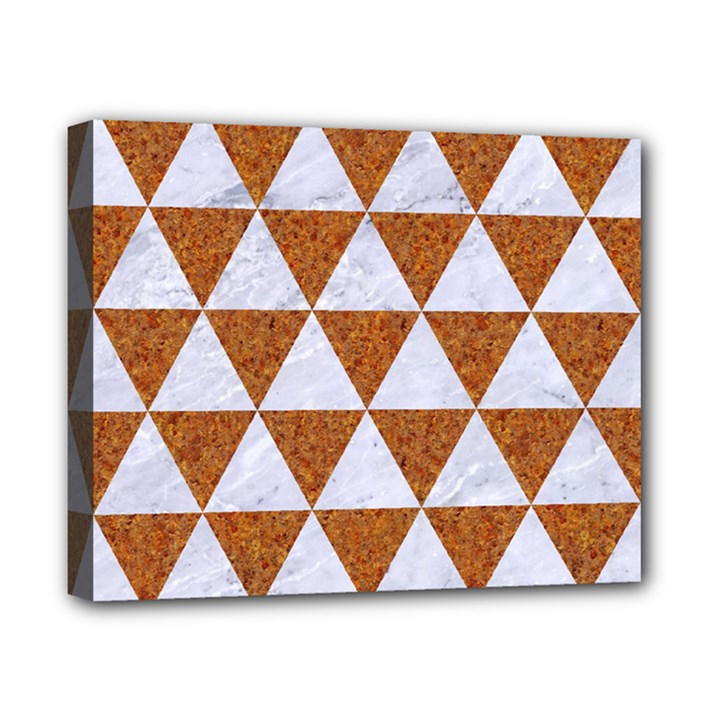 TRIANGLE3 WHITE MARBLE & RUSTED METAL Canvas 10  x 8