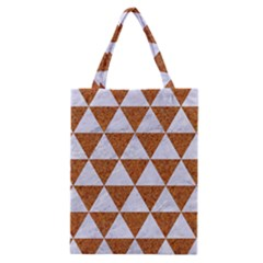 Triangle3 White Marble & Rusted Metal Classic Tote Bag