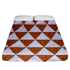Triangle3 White Marble & Rusted Metal Fitted Sheet (california King Size)