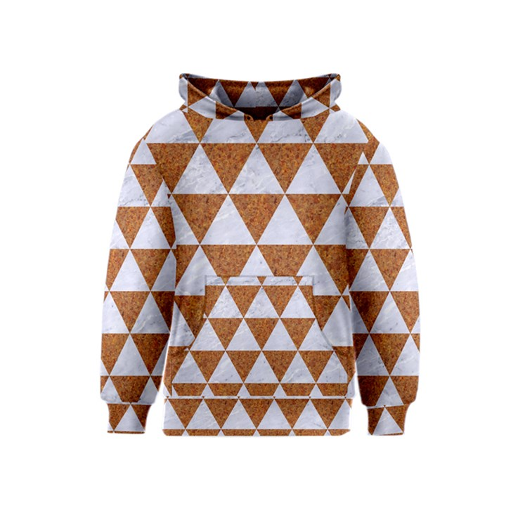 TRIANGLE3 WHITE MARBLE & RUSTED METAL Kids  Pullover Hoodie