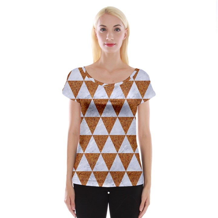 TRIANGLE3 WHITE MARBLE & RUSTED METAL Cap Sleeve Tops