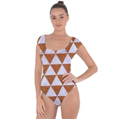 Triangle3 White Marble & Rusted Metal Short Sleeve Leotard