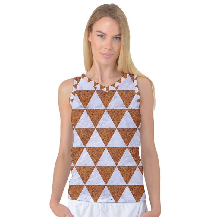 TRIANGLE3 WHITE MARBLE & RUSTED METAL Women s Basketball Tank Top
