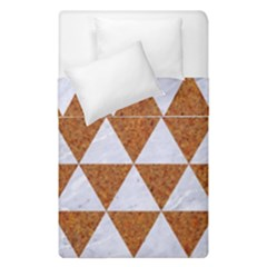 Triangle3 White Marble & Rusted Metal Duvet Cover Double Side (single Size)