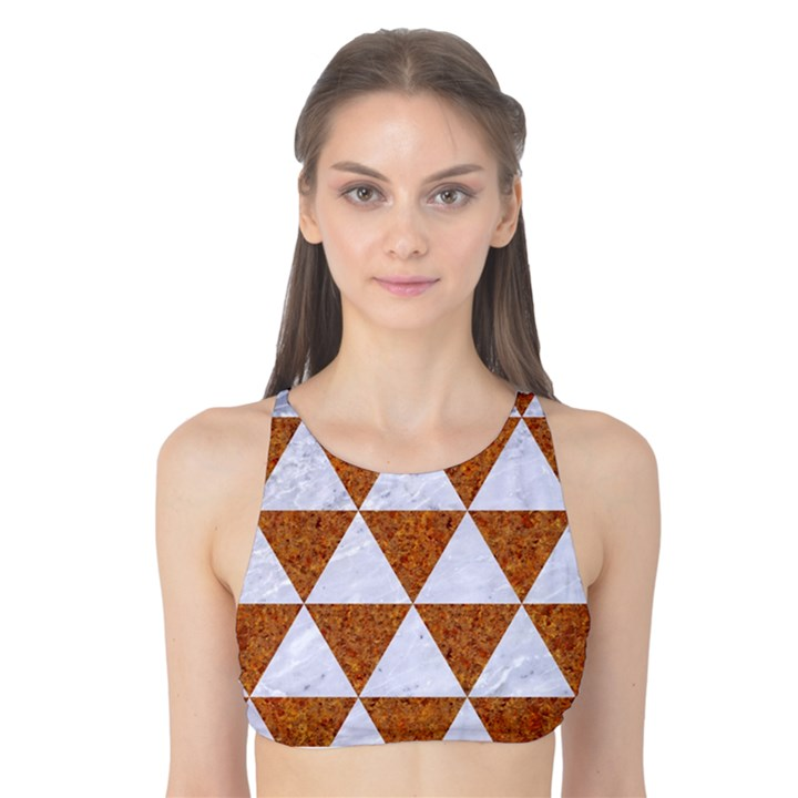 TRIANGLE3 WHITE MARBLE & RUSTED METAL Tank Bikini Top