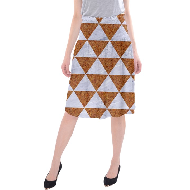 TRIANGLE3 WHITE MARBLE & RUSTED METAL Midi Beach Skirt